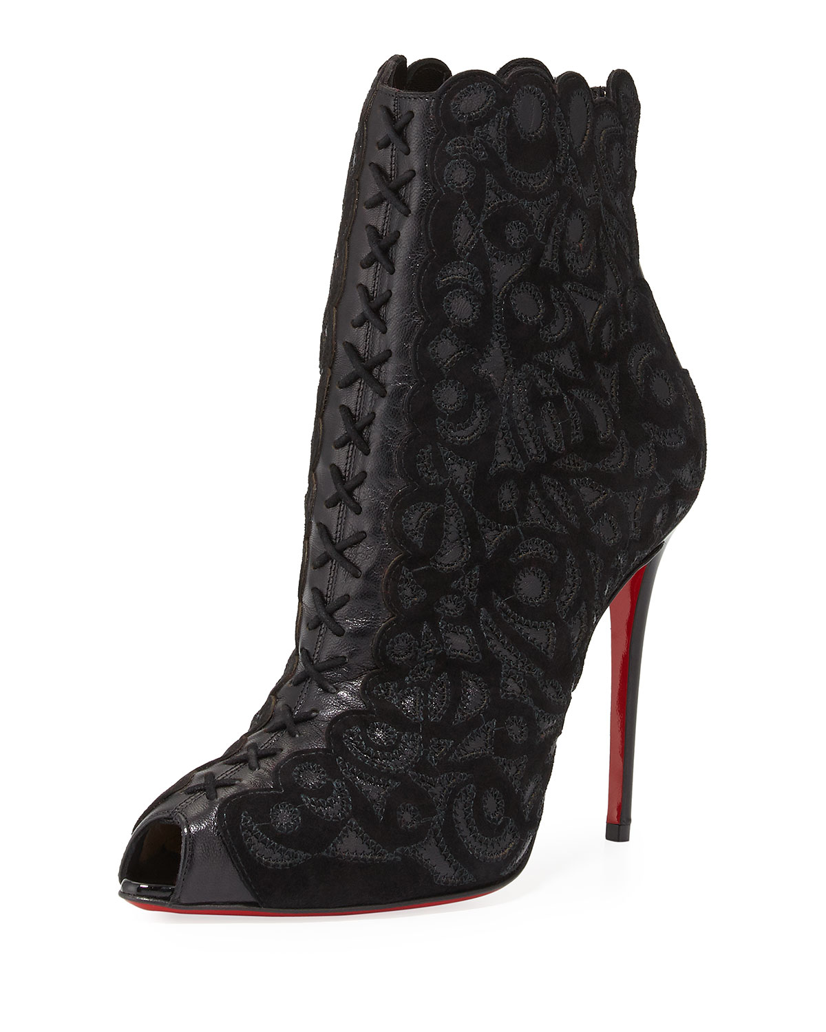 6963b47b2ec00 Christian Louboutin Indiboot Lace-Front Red Sole Bootie, Black | Bergdorf  Goodman